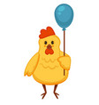 ridiculous plump chicken that holds blue balloon vector image