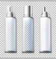 set - 3d realistic transparent foam bottles vector image