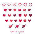 set of different flat colorful hearts vector image vector image
