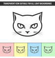 simple outline transparent cat head icon vector image vector image