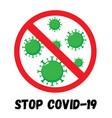 stop coronavirus red sign vector image