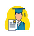 student graduation with diploma vector image