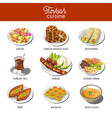 turkish cuisine food and traditional dishes vector image vector image