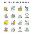 united states icons vector image vector image