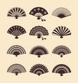 vintage elegant oriental fans set vector image vector image