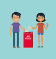 voter throw voting paper in ballot box vector image