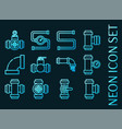 water pipes set icons blue glowing neon style vector image