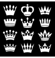 White crowns on black background vector image