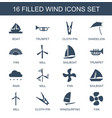 wind icons vector image vector image