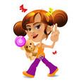 cartoon girl with a teddy bear and a candy eps10 vector image