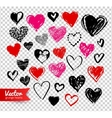 Grunge Valentine hearts on transparency background vector image