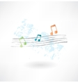 musical notation grunge icon vector image