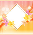 abstract frame with lily flower natural vector image
