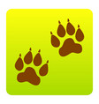 animal tracks sign brown icon at green vector image vector image