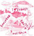 australia doodles vector image
