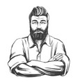 bearded strong man hand drawn vector image