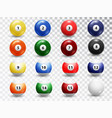 billiard balls isolated on transparent background vector image vector image
