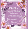 birthday party invitation flowers and vector image vector image
