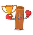 boxing winner cinnamon mascot cartoon style vector image vector image
