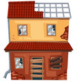 brick house with broken roof and windows vector image vector image