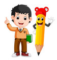cartoon boy with a big pencil vector image vector image