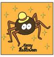 cartoon cute spider in hat merry halloween vector image vector image