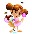 cartoon girl with a melting ice-cream eps 10 vector image vector image