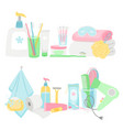 cartoon hygiene elements and accessories vector image