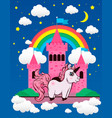 cartoon unicorn castle and rainbow and unicorn vector image vector image