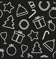 christmascharcoal seamless pattern on black vector image