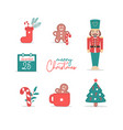 colorful christmas icon set vector image