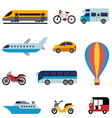 colorful flat transport icons vector image vector image