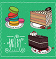 confectionery set in handmade cartoon style vector image