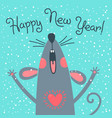 cute gray rat wishes happy new year postcard vector image vector image
