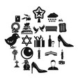 divine service icons set simple style vector image vector image