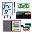 Dollar bills laptop leather wallet vector image vector image