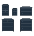 Dressers for clothes Dark on white background vector image