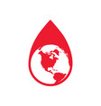 drop of red blood with planet earth icon vector image vector image
