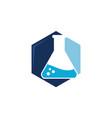 flask hexagon logo design template vector image