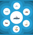 flat icon boat set of tanker boat ship and other vector image vector image