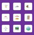 flat icon season set of recliner ocean parasol vector image vector image