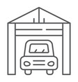 garage thin line icon auto and parking car house vector image