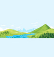 green mountains travel landscape in flat style vector image vector image