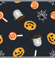 halloween pattern grave in cemetery orange vector image