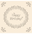 Happy Birthday card mono line art style Monogram vector image
