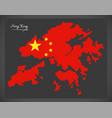 hong kong china map with chinese national flag vector image