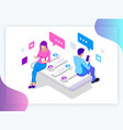 isometric banner of virtual relationships and vector image