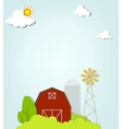 Landscape with red farm windmill and silos vector | Price: 1 Credit (USD $1)