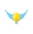 light bulb with wings isolated icon vector image vector image