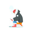 man fishing in a frozen lake or river in winter vector image vector image